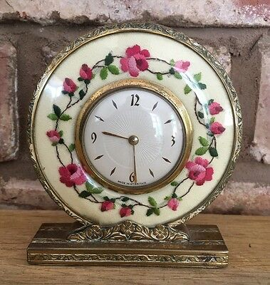 Beautiful Little Art Deco Gilt & Floral Dressing Table Clock