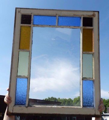 Antique Stained Glass Window Shabby Cottage Vintage Chic 590-17R