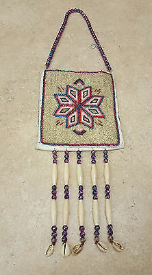 Nice Hand Crafted Cut Beaded Star Design Native American Indian Arm Purse Piece