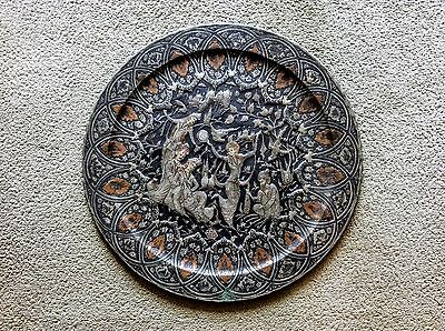 "Very Large 27"" Persian Copper Tray Table Top Plaque, Ghalamzani Isfahan -Vintage"