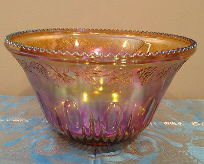 Marigold Carnival Glass Punch Bowl Set - 16 cups
