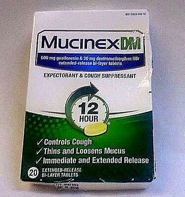 Mucinex DM 12 Hour Expectorant and Cough Suppressant Tablets 20 Count Exp 07/17
