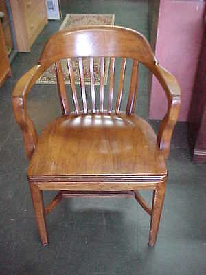 Antique Mahogany Bankers, Lawyers Office Desk Chair,  Very Nice