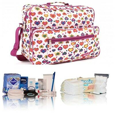 White heart pre-packed hospital/maternity/changing bag Mum & Baby shower gift