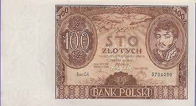 Poland 100 Zlotych Banknote 1932 Choice About Uncirculated Condition Cat#74-A-90
