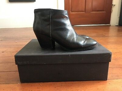 Rachel Comey Mars Ankle Boot Bootie Black Leather Size 6.5 Pre Owned
