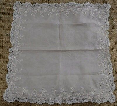 VINTAGE pale pink silk floral embroidered handkerchief with lace edge