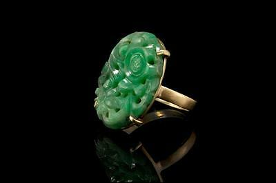 Antique Chinese Carved Apple Green Jade 14K Gold Ring (041117100)