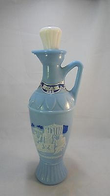 Vintage Jim Beam 1961 Grecian Blue Milk Glass Decanter-Socrates Plato Aristotle