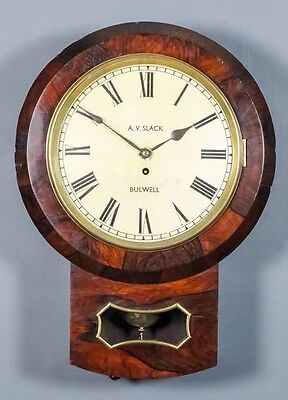 Victorian Rosewood Single Fusee Drop Dial Wall Clock ** A.v.slack Of Bulwell **