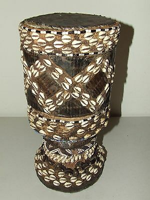 Antique African Carved Wooden Ceremonial Tribal Drum Decorated w/ Beads & Shells