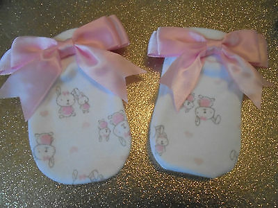 Romany Baby Girl Pink Satin Bow Cute Bunny Scratch Mittens  0 - 3 Mth