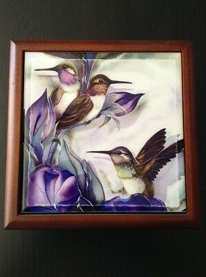 Hummingbird Wood and Tile Box