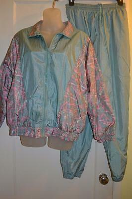 vtg 80s 90s ABSTRACT SCRIBBLE Shimmer granny nylon JACKET n PANTS outfit  m