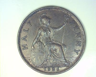 Great Britain 1926 Half-Penny Km824 About Uncirculated ~Fc68