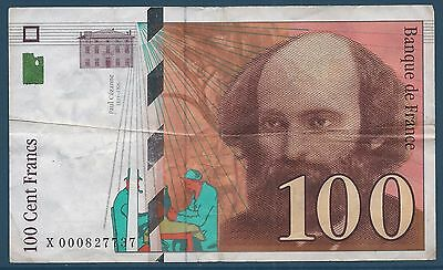 100 FRANCS PAUL CEZANNE - 1997 - TICKET FROM BANK Quality: VERY GOOD