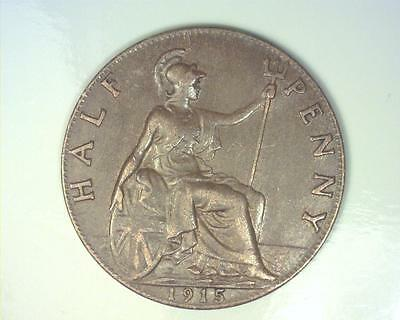 Great Britain 1915 Half-Penny Km809 About Uncirculated ~Fc63