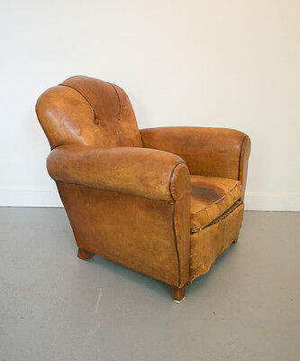 Antique French Leather Art Deco Club Chair Vintage