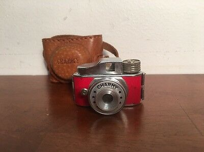 Vintage Mini Charmy Camera Leather Case Made in Japan Rare Red