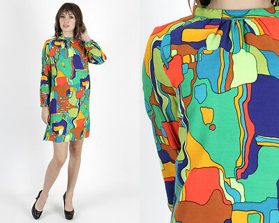 Vintage 60s Psychedelic Print Dress Mod Scooter Evening Cocktail Party Mini M