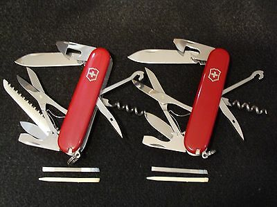 """Victorinox Lot of 2 Huntsman and Climber Red Swiss Army Knife Set 91mm (3.5"""")"""