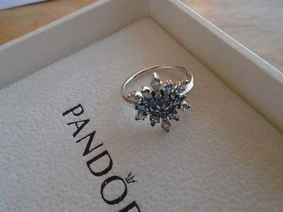 Genuine Authentic Pandora Silver Crystallised Snowflake Ring 190969Nblmx Size 56