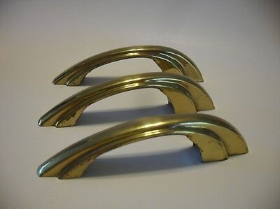 3 VINTAGE Brass Plated Cabinet DOOR Pulls w Stair Stepped Sides Amerock Art Deco