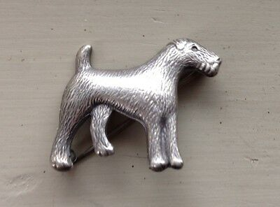 Vintage Airedale Terrier Dog Brooch Pin Jewelry Sterling Silver