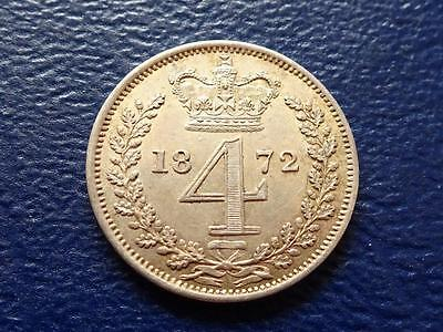 Queen Victoria Silver Maundy Fourpence 1872 4D Groat Great Britain Uk