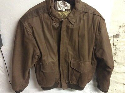 Vintage G-III G3 Global Identity Brown Leather Bomber Jacket Men's Size S EUC