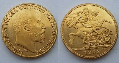 1902 24k GOLD PLATED King Edward VII £2 Double Sovereign UK - COPY COIN