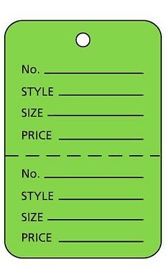 "3000 Perforated Tags Price Sale Large 1 ¾""  x 2 ⅞"" Two Part Light Green Coupon"