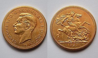 1937 24k GOLD PLATED King George VI £2 Double Sovereign UK - COPY COIN