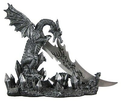 Wicked Fire Dragon Fantasy Knife and Holder Dagger