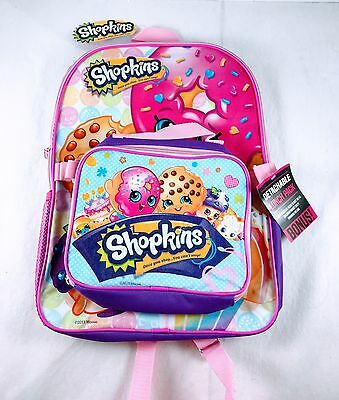 """Shopkins School Backpack with Detachable Insulated Lunch Box 16"""" Licensed girls"""