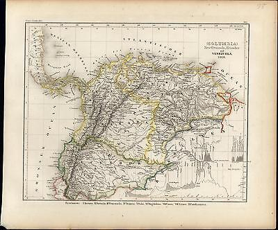 South America Colombia Panama Venezuela Ecuador c.1850 old antique Meyer map