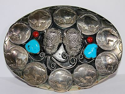 Silver-Tone Two 3D Head Buffalo & Nickels Turquoise Coral Belt Buckle, Mint