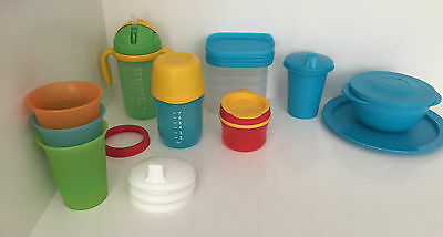 TUPPERWARE Kids 4 Bell Tumbler Cups 2 Grow With Me Tumbler Bowl Plate Snack Cup