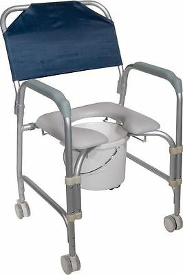 Commode Chair - Shower & Bath Seat - Padded with Wheels (Holds 300lbs)
