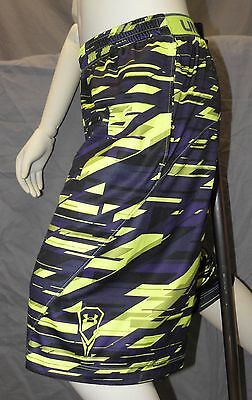 UNDER ARMOUR Boy's PURPLE/BLACK/VOLT Pattern Lacrosse SHORTS YMD Youth Medium