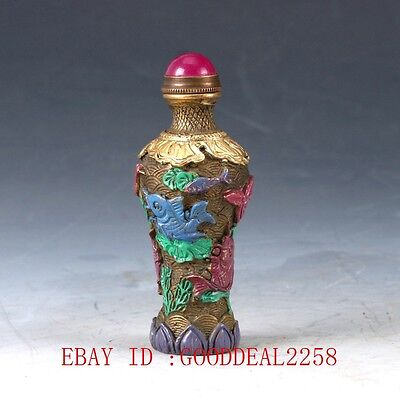 Chinese Brass Hand-carved Fishes Snuff Bottle W QianLong Mark DY038