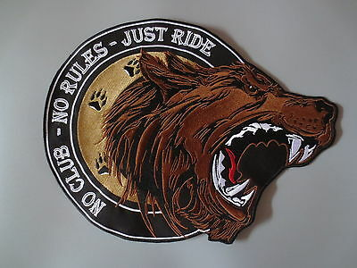 12.6'' inches large Embroidery Patches for Jacket back Roaring Bear NO CLUB