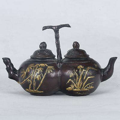 Old Copper Hand-carved Gilt Bamboo Double Teapot With Qing Dynasty Mark