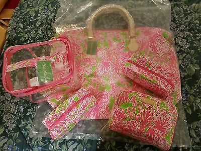 NWT Lilly Pulitzer Hotty Pink Biggest Fan Weekender Overnight Bag Luggage SETof2