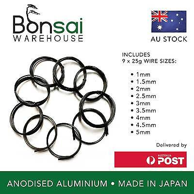 Bonsai Wire Starter Pack Japanese – Made in Japan – Anodised Aluminium 1-5mm
