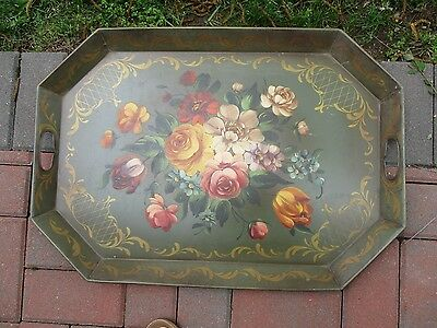 Vintage Shabby Chic Tole Ware 8 Sided Tray Green w/Hand Painted Floral Flowers
