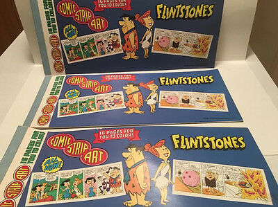 Lot of 3 Flintstones 1982 Comic Strip Art Coloring Book Hanna Barbera Fred Wilma