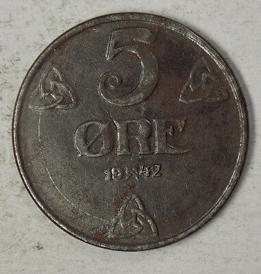 Norway 1942 5 Ore Iron Coin - German Occupation