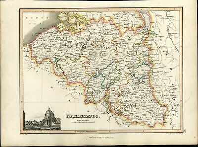 Netherlands Holland Flanders w/ Waterloo view 1819 Thomson antique old map