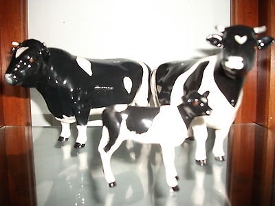 Beswick England Cattle Family FRIESIAN Bull Cow & Calf Figure Used in VGC
